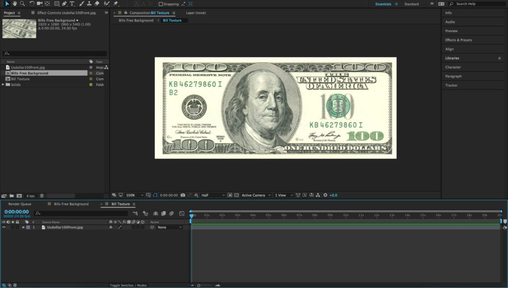 100 USD Bill After Effects Free Project Replaceable Texture