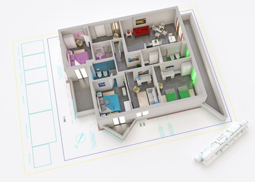3D Rendered Apartment Floor Plan
