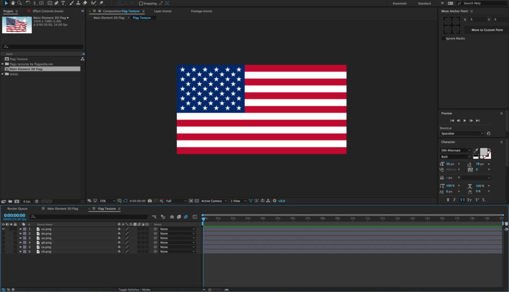 Waving Flag 3D Model Free After Effects Project Template