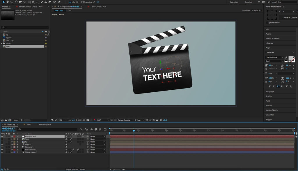 Film Clapperboard 3D Model Free After Effects Template
