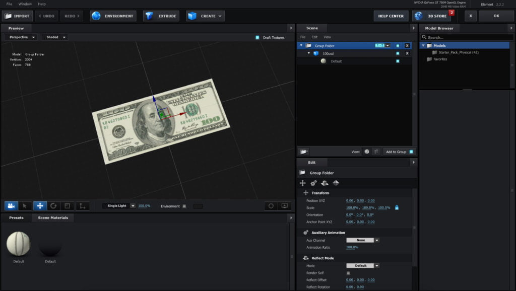 100 USD Bill Element 3D