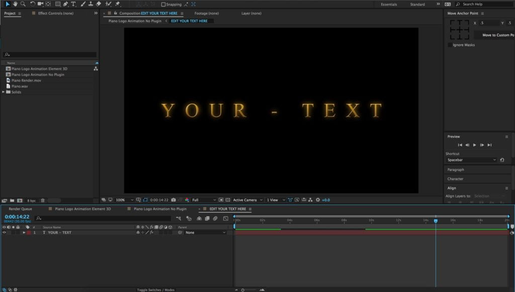 Edit Your Text After Effects Composition