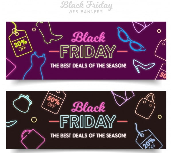 Neon Banners for Black Friday 2017