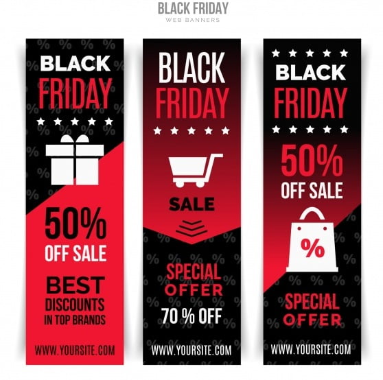 Vertical Red Discount Banners Vector