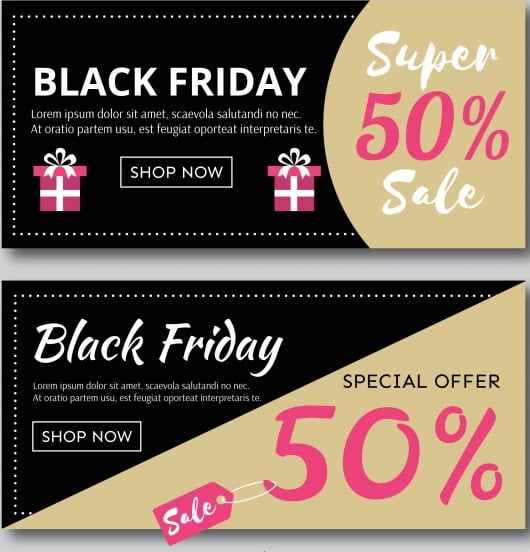 Beige Black Friday Discount Banners