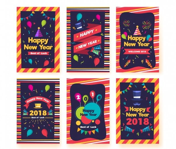 colorful new years party invitations