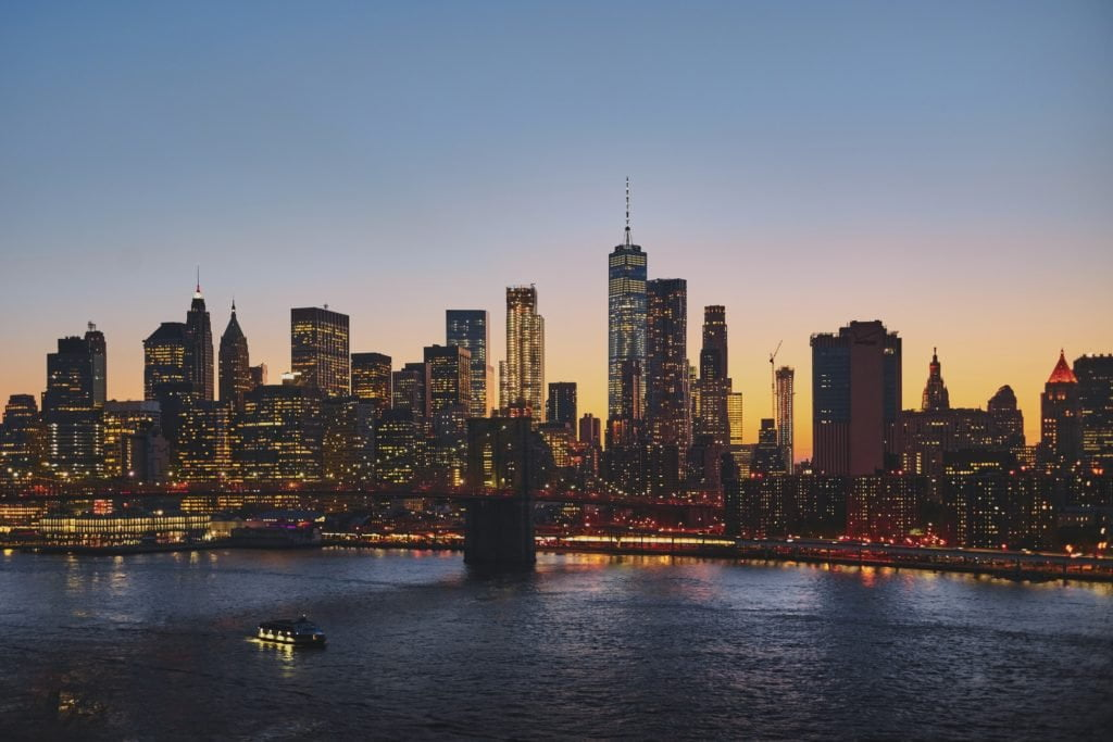 new york sunset skyline aerial